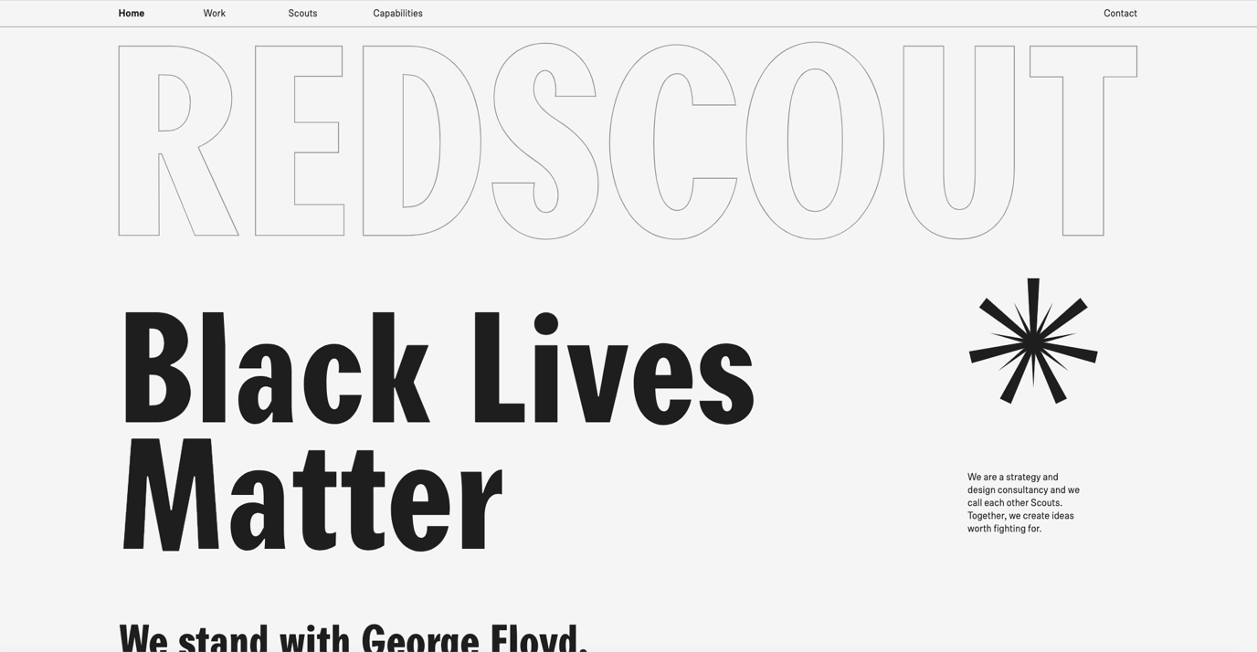 Big, bold and outlined typography on websites