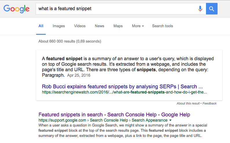 "A screenshot of Google's ""featured snippet"" featured snippet"